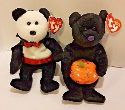 New Set of 2 Halloween Ty Beanie Babies Baron Van Pyre & Haunting NWT