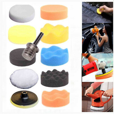 10pcs 3'' Polishing Pad & Drill Thread Kit for Car Polisher with M10 Foam+Woolen