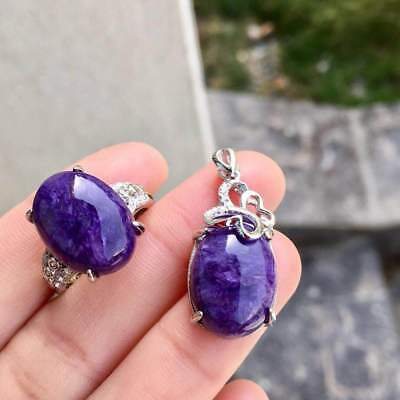 Certified Romantic Charoite Oval Pendant Ring 925 Sterling Silver + Chain Gifts