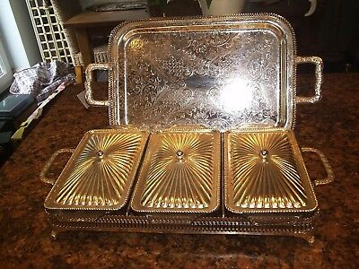 Queen Anne Silver Plated  Serving Tray WITH HOSTESS DISHES