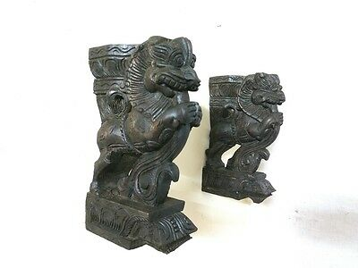 Yalli Wooden Bracket Corbel Pair Hindu Temple Sculpture Yali Statue Home Decor