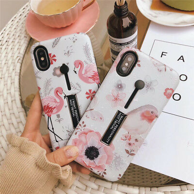 For iPhone X 8 6s 7 Plus Cute Flamingo Pattern Ring Stand Holder Hard Case Cover