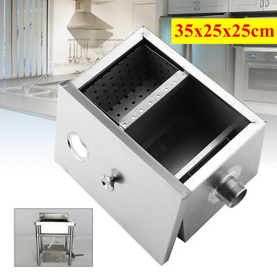 Commercial Kitchen Grease Trap Stainless Steel Interceptor Filter Kit 35x25x25cm