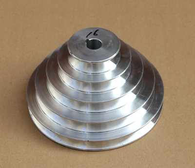 1PC 130mm Diameter - 4 Step Pulley 16mm Bore - 5mm keyway - Cast Aluminum