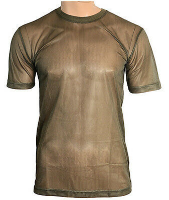 New OLIVE GREEN MESH T-Shirt - All Sizes Breathable Military Army Summer Top