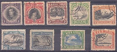 Niue Cook Islands Scarce Used Set Of 9 Values High Catalouge Value