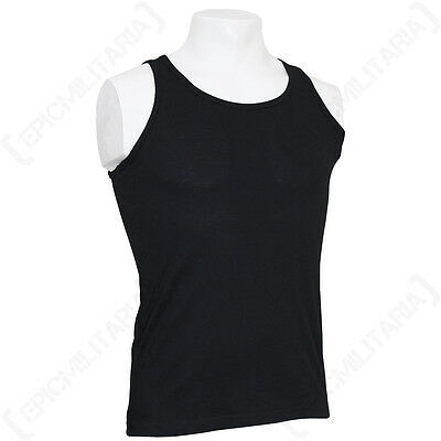 BLACK TANK TOP - Military Army Combat Cotton Mens Vest Sleeveless All Sizes