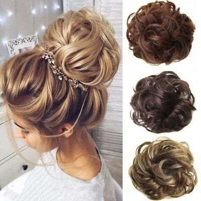 Scrunchy Scrunchie Hair Bun Updo Hairpiece Ponytail Extensions Wavy Curly AU