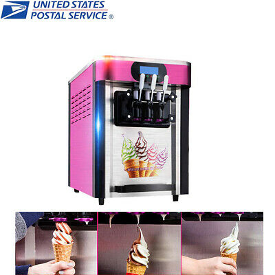 110V 3Flavor Steel Commercial Soft Ice Cream Cone Frozen Yogurt Maker Machine US