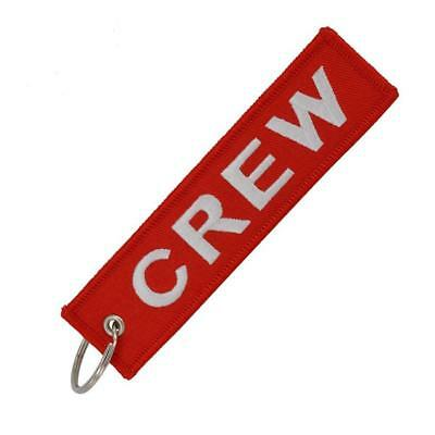 Red CREW Keychain Keyring Embroidery Luggage Tag Motorcycle Key Chain Ring