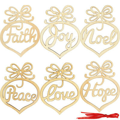 6PCS Christmas Party Home Decoration Hanging Wooden Hollow Pendant For Kids Chil