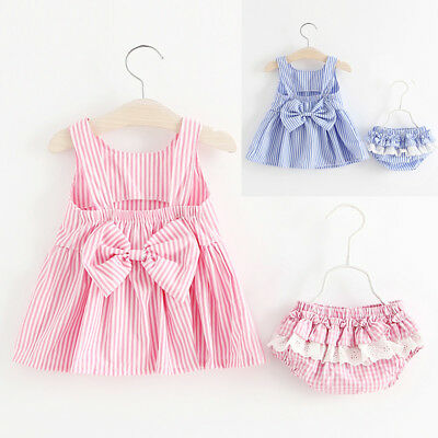 Summer Baby Girl Kids Backless Dress+Shorts Bloomers Clothes Outfits Set 0-24M
