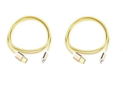iProtect 2-Pack 1M Nylon Lightning Charging and Sync Cable for Apple in Gold