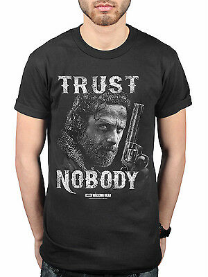 Official The Walking Dead Trust Nobody T-Shirt TV Series Nation Rick Grimes Zomb