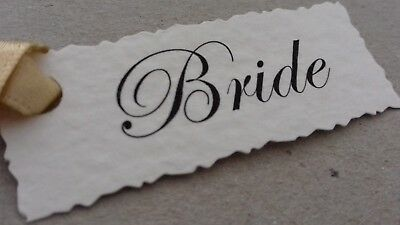 1-50 Personalised Wedding Place Card Name Tags- White, Ivory, Kraft -Any Message