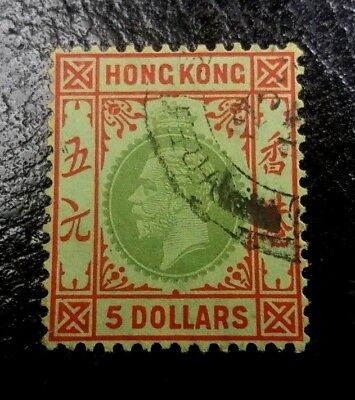 ( Hkpnc ) Hong Kong 1921 Kgv $5 Top Value Olive Yellow Back No Listed In Sg Vfu