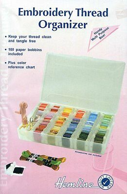 Hemline Large Plastic Large Embroidery Floss Thread Box Organiser + Bobbins