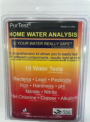 PurTest Complete Home Water Analysis test Kit with water with 19 tests