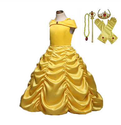 Girls Beauty and the Beast Dress kids Princess Belle Dress UP Set Size 2-8T B1