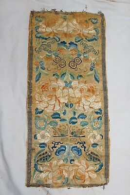 Early Japanese Silk Embroidered Panel with Bats & Frogs antique
