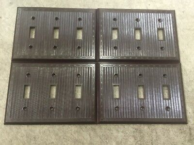Lot of 4 Vintage Brown Bakelite Lines Lined Triple Switch Plate Covers. Retro!