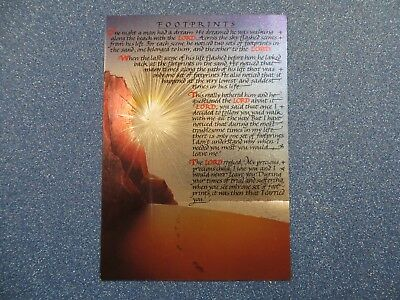 Foil Postcard ~ Footprints ~ F.J Warren Ltd, Hitchin