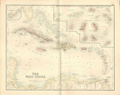 1874 ca LARGE ANTIQUE MAP- SWANSTON -THE WEST INDIES