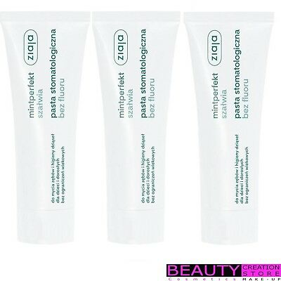 3 x ZIAJA Mintperfect Toothpaste Without Fluorine Extract Of Sage 75ml ZI154