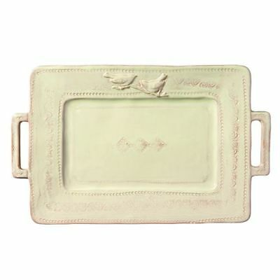 New Vietri Bellezza Celadon Handled Rectangular Platter