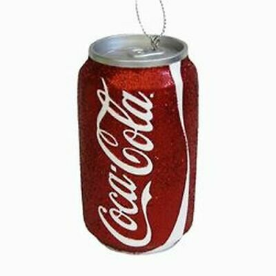 "New Kurt Adler 3.5"" Resin Red Glitter Coke Can Ornament"
