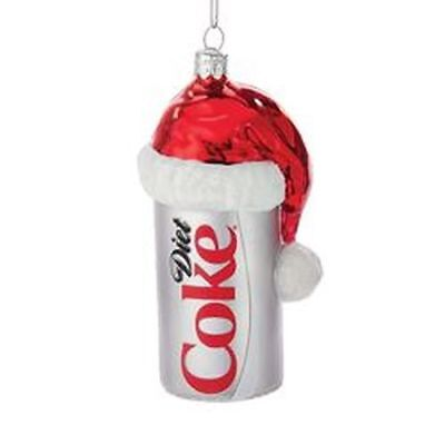 "New Kurt Adler 4.5"" Glass Diet Coke Can With Santa Hat"