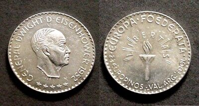 Interesting 1952 Silver Eisenhower European Federation Pattern Coin