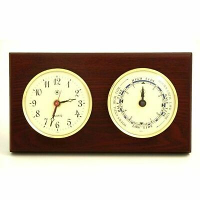 Quartz Clock & Tide Clock On Mahogany Wood With Brass Bezel