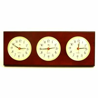 Triple Quartz Clock On Mahogany Wood With Brass Bezel