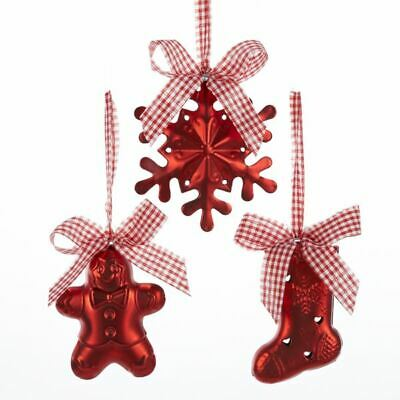 New Snowflake, Stocking And Gingerbread Ornament -3 Assorted