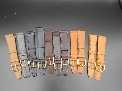 Lot of 11 Genuine Leather Flat Black Brown Gray Beige 18, 19 Watch Band #110
