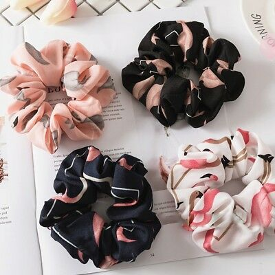 Lady Hair Scrunchies Bun Ring Elastic Flamingos Bobble Sports Dance Scrunchie