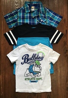 Lot Of 3 Short Sleeve Shirts Boys Toddler Size 4T Spring Summer