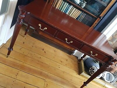 regency mahogany 3 draw writing desk fluted tapered legs reproduction