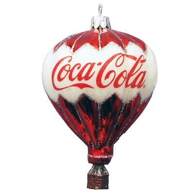 New Kurt Adler Coca-Cola Glass Hot Air Balloon Ornament