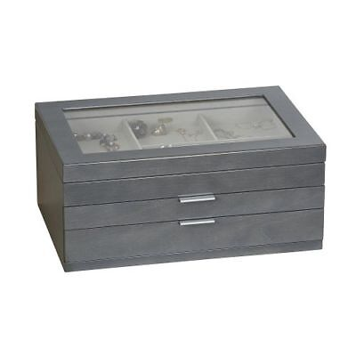 New Mele & Co. Misty Glass Top Wooden Jewelry Box in Gray Finish