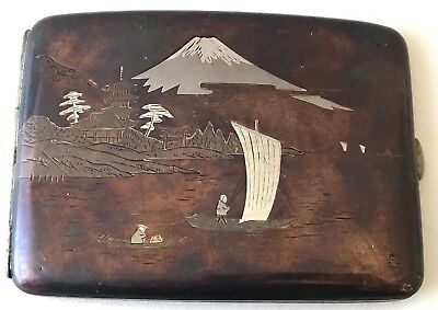 Antique Japanese 950 Silver Cigarette Case Mt.Fuji 5 Lakes 99.8G Artist Signed
