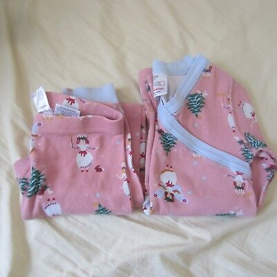 Hanna Andersson Girls Holiday Christmas Pajamas, size 120 pink and light blue