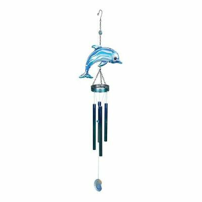 New Beachcombers Metal/Glass Dolphin Top Chime