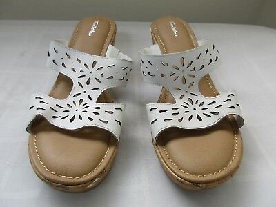 4adc7689a65d New Women s Thom McAn Elise Cork Wedge Sandal Casual Shoes 50177 White 139D  pc