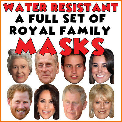 ALL 8 Royal Family Celebrity Facemasks -Wedding Jubilee Party Supplies Face Mask