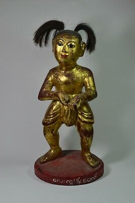 Rare Antique Gilt SE Asian Shrine or Temple Sculpture of Hero or Warrior, 13 ""