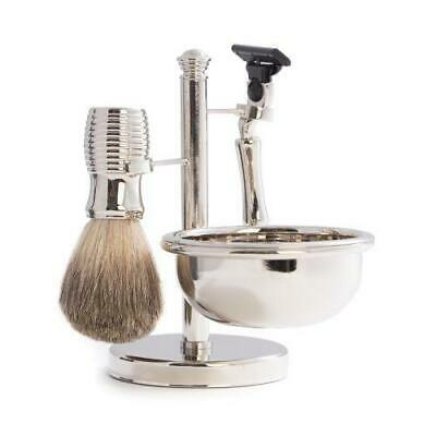 """Mach 3"" Razor & Pure Badger Brush With Soap Dish On Stand"
