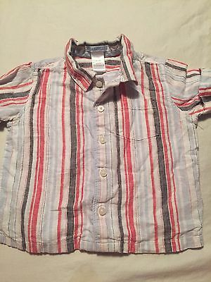 Janie And Jack Boys Short Sleeve Button Up Shirt Size 12-18 Months Linen