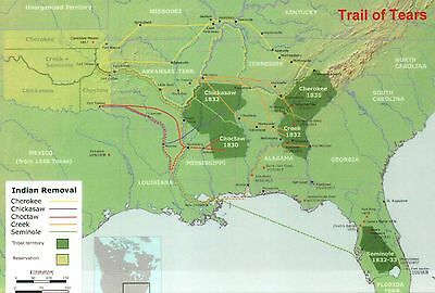 The Trail of Tears Map Native American Indian Relocation Cherokee etc - Postcard